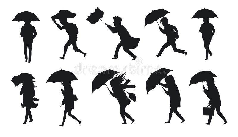 Collection of people walking under the rain storm wind with umbrellas stock illustration