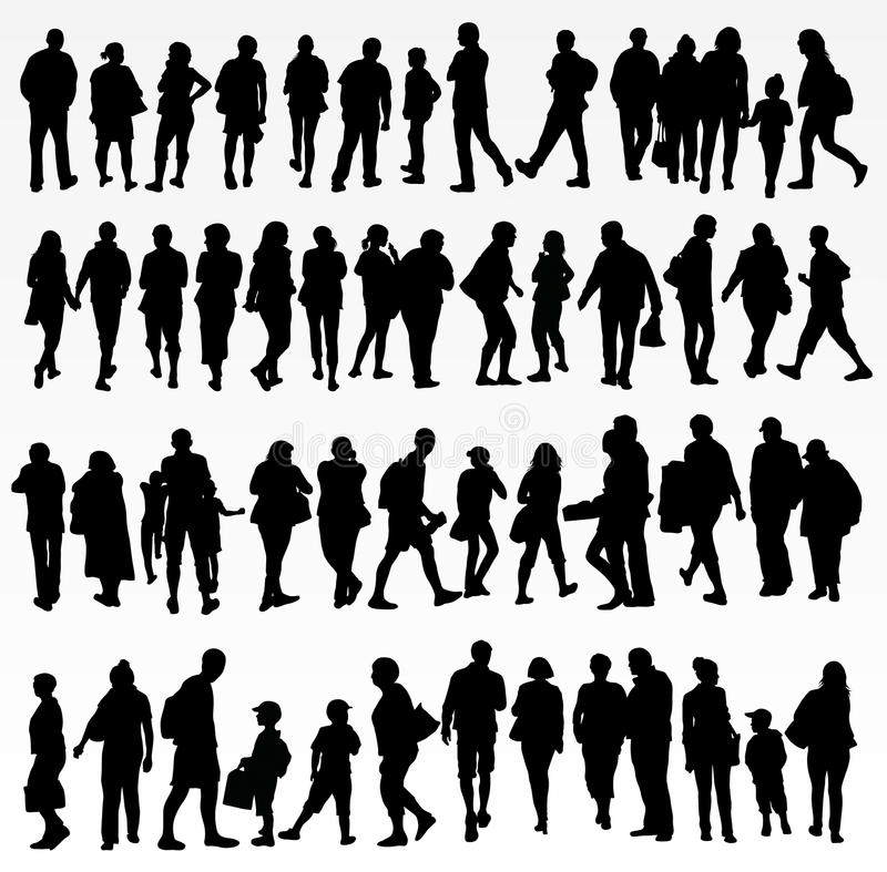 Collection of people silhouettes stock illustration