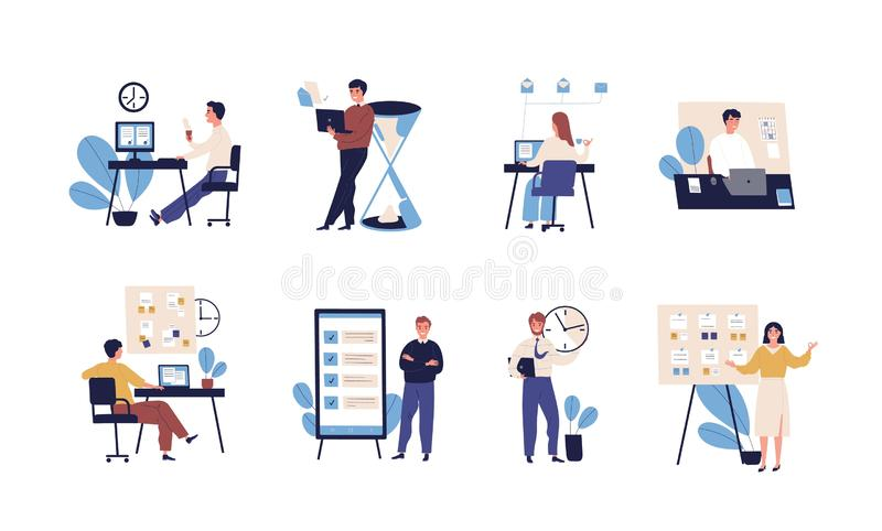 Collection of people successfully organizing their tasks and appointments. Set of scenes with efficient and effective. Time management and multitasking at work vector illustration