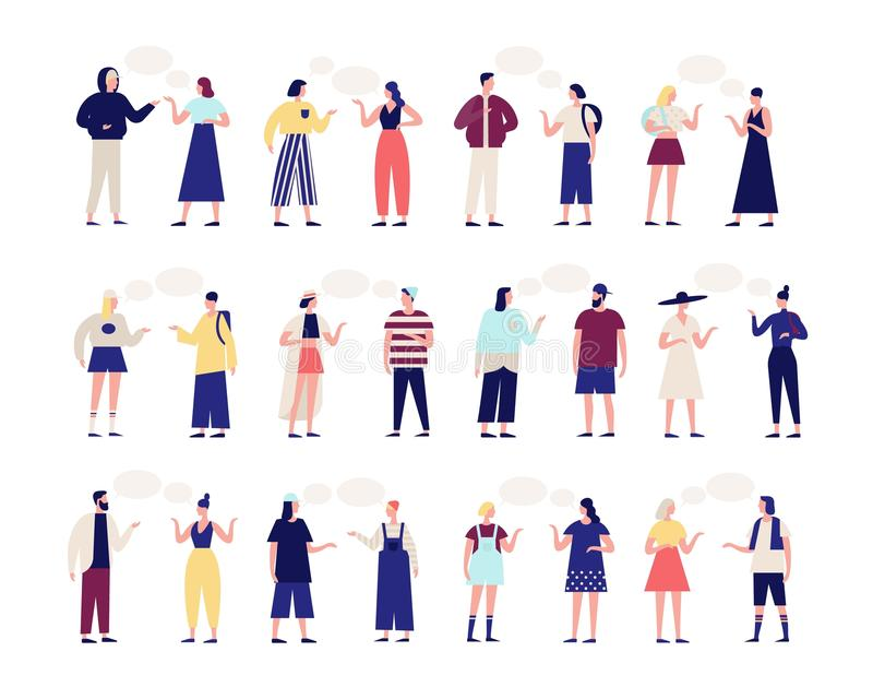 Collection of people talking to each other. Bundle of men and women with speech balloons isolated on white background stock illustration