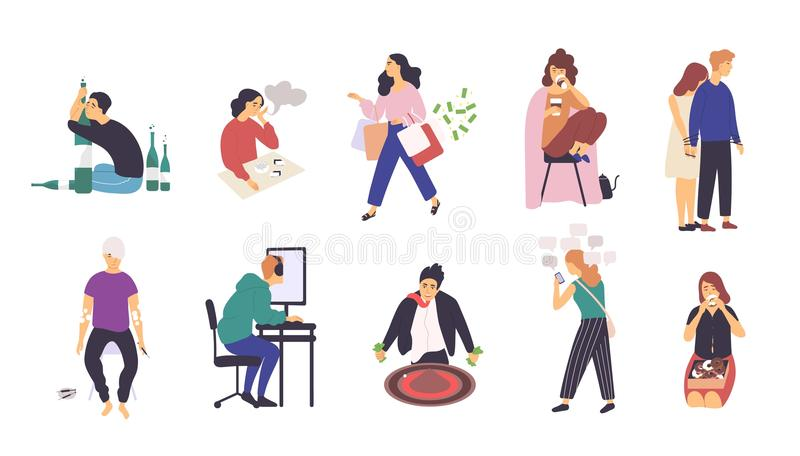 Collection of people with various addictions. Bundle of male and female cartoon characters with different addictive royalty free illustration