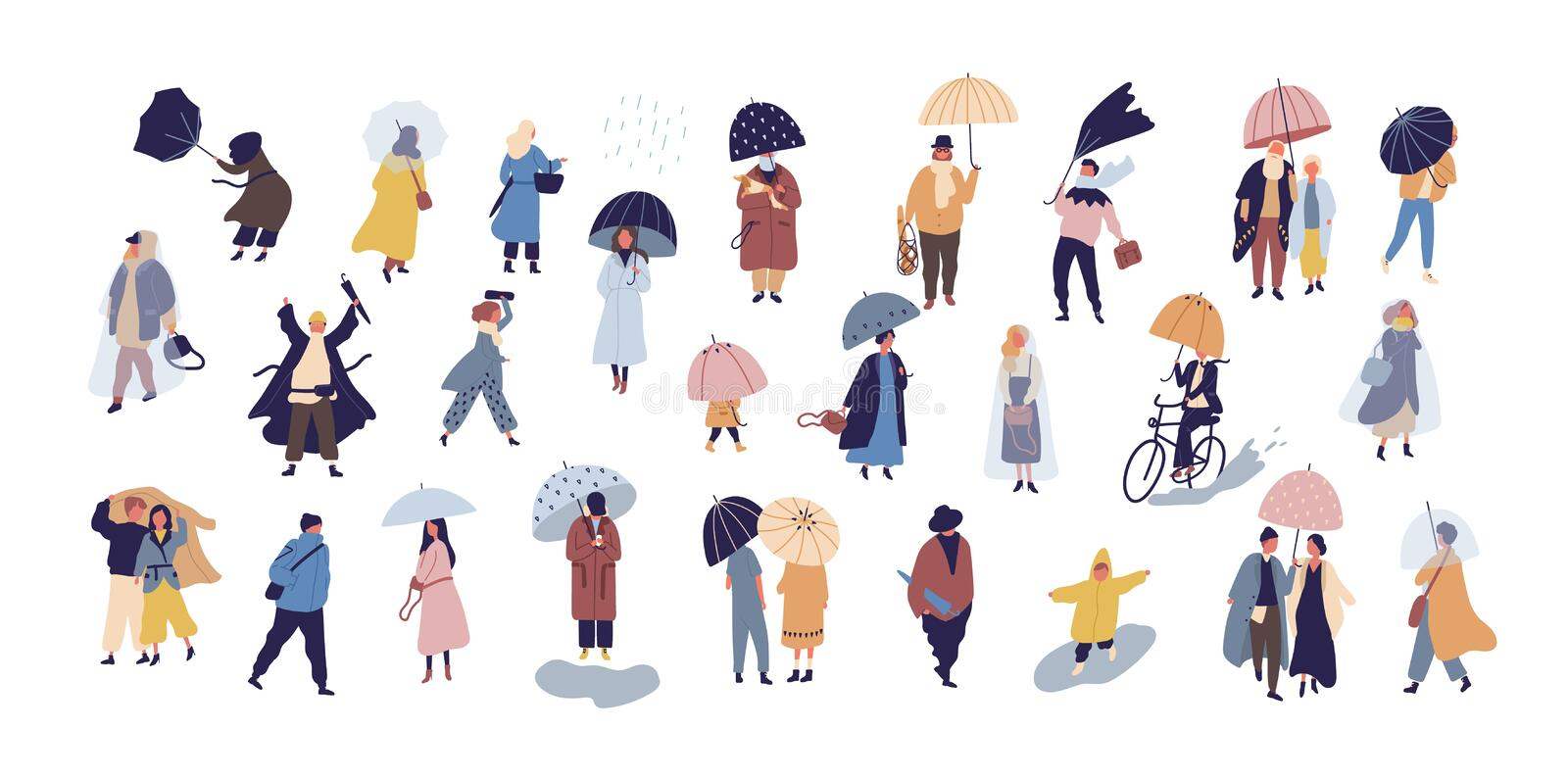 Collection of people walking under umbrella on autumn rainy day isolated on blue background. Crowd of tiny men and women stock illustration