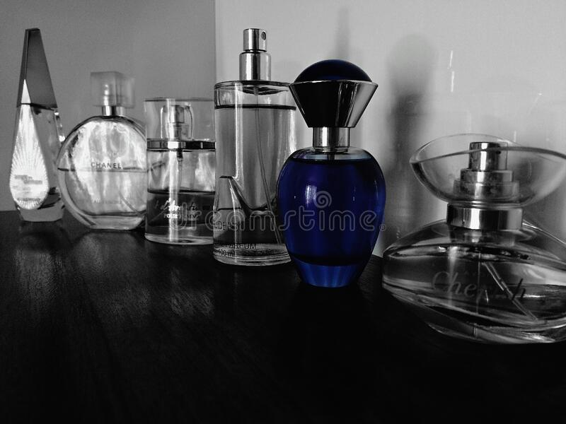 Collection of perfume bottles royalty free stock photos