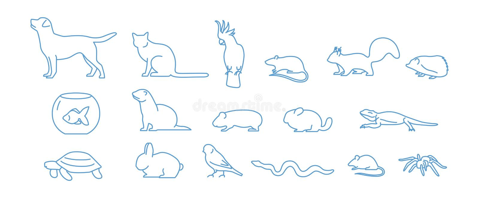 Collection of pet icons drawn with blue contour line on white background. Set of domestic animal linear symbols. Vector. Illustration royalty free illustration