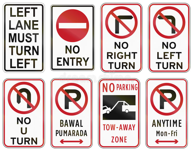 Road Signs And Their Meanings >> Collection Of Philippine Regulatory Road Signs Stock Illustration - Illustration of generated ...