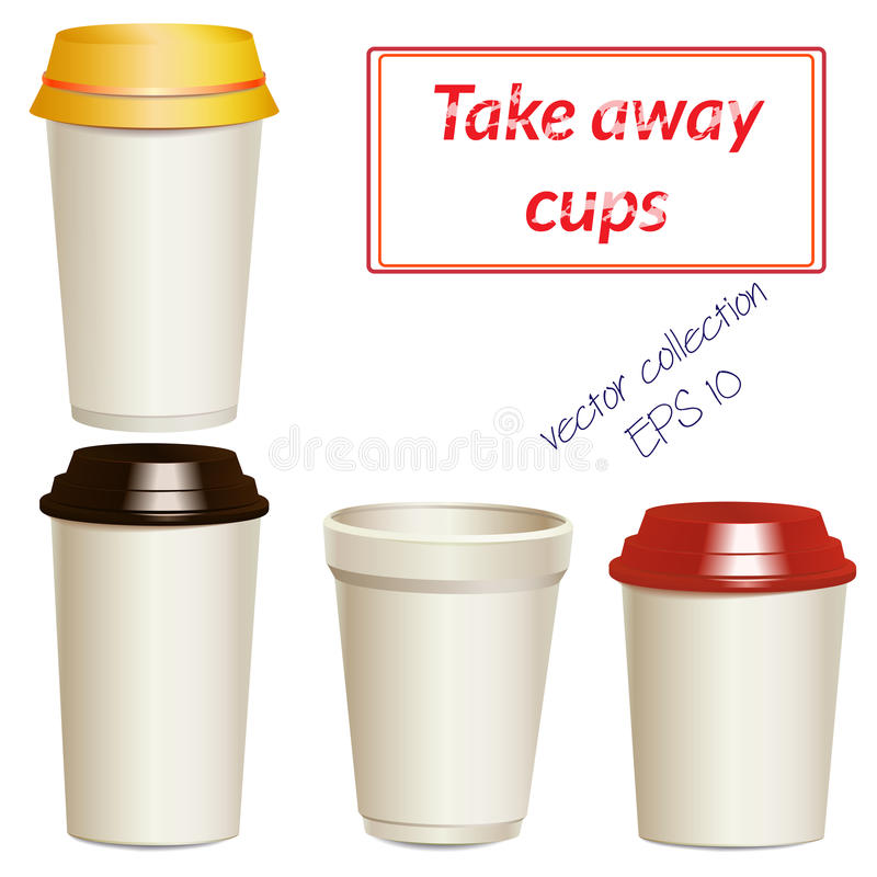 Collection of photorealistic take away hot drink vector illustration
