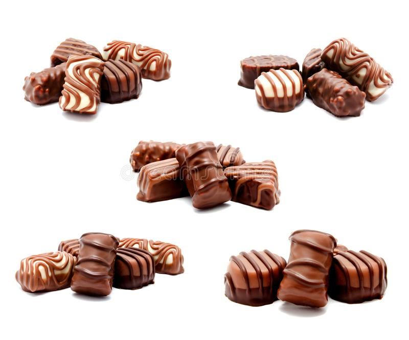 Collection of photos assortment of chocolate candies sweets isolated royalty free stock images