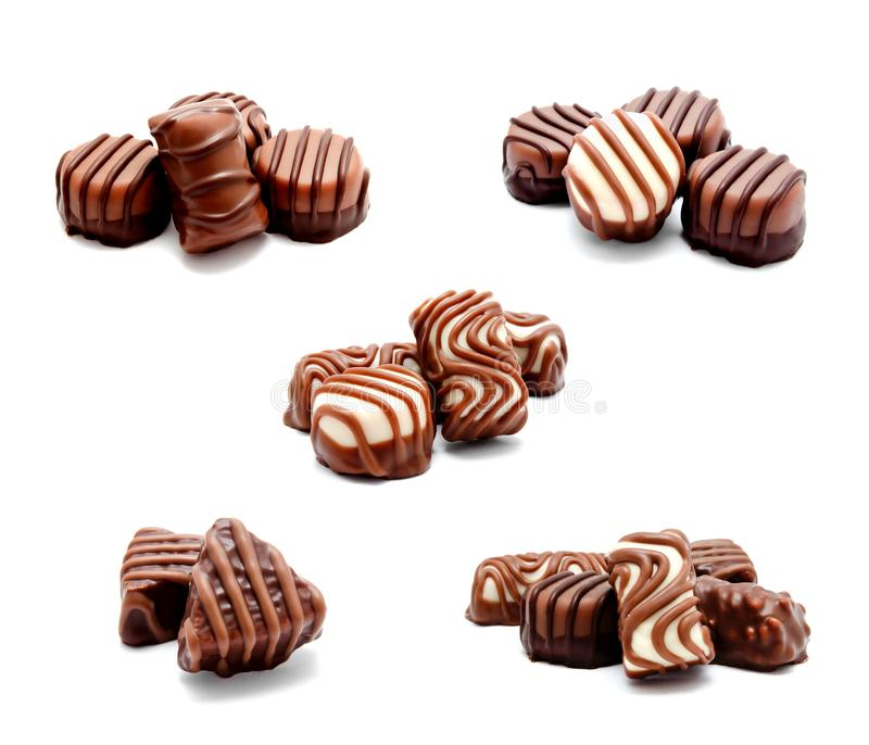 Collection of photos assortment of chocolate candies sweets isolated stock photo