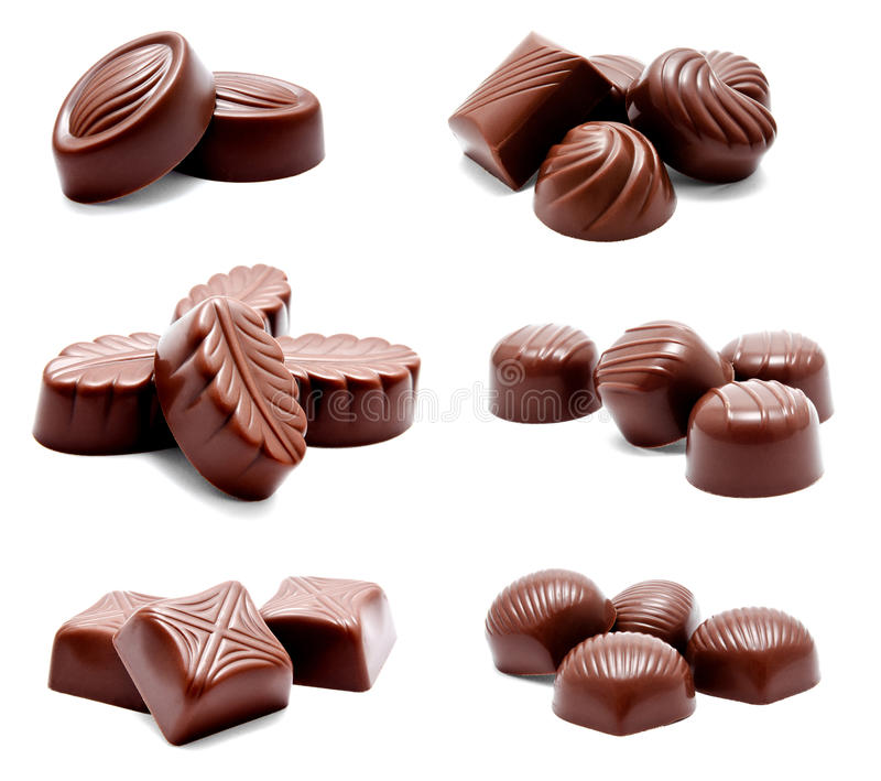 Collection of photos assortment of chocolate candies royalty free stock photos