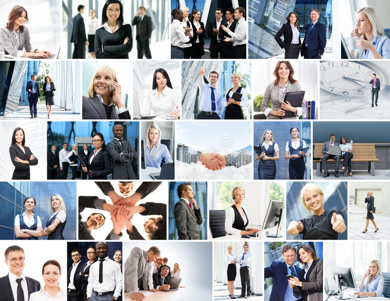Collection of photos about business people. Dealing with different business situations royalty free stock photography