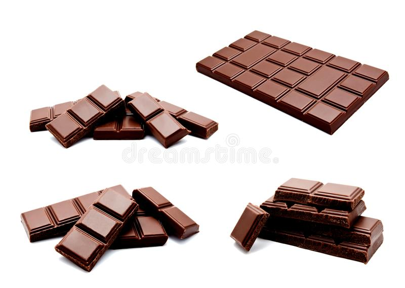 Collection of photos dark milk chocolate bars stack isolated on stock image