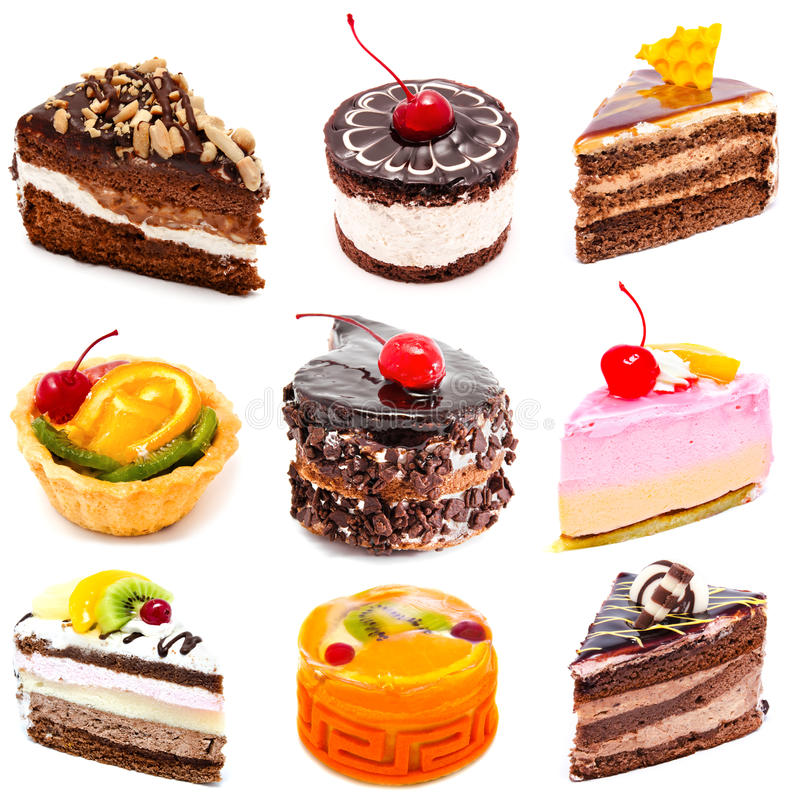 Collection of photos delicious cakes isolated stock images