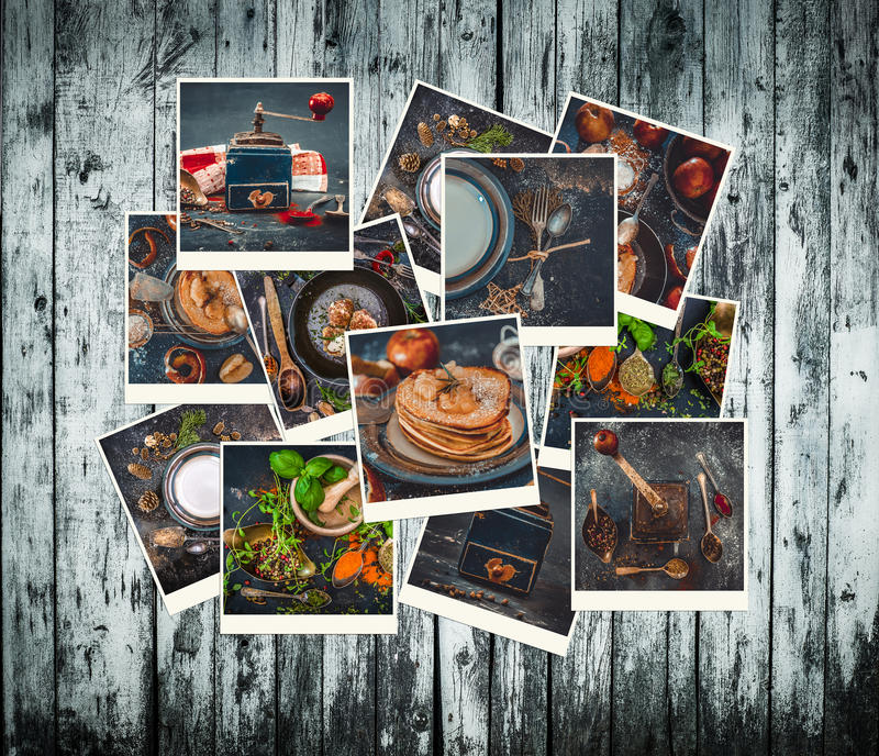 Collection of photos of food in a retro style stock image