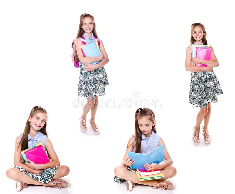 Collection of photos portrait of cute smiling happy little school girl child teenager with school bag backpack and books isolated royalty free stock photo