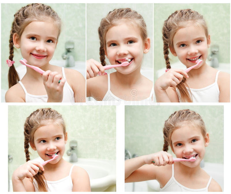 Collection of photos smiling cute little girl brushing teeth royalty free stock photography