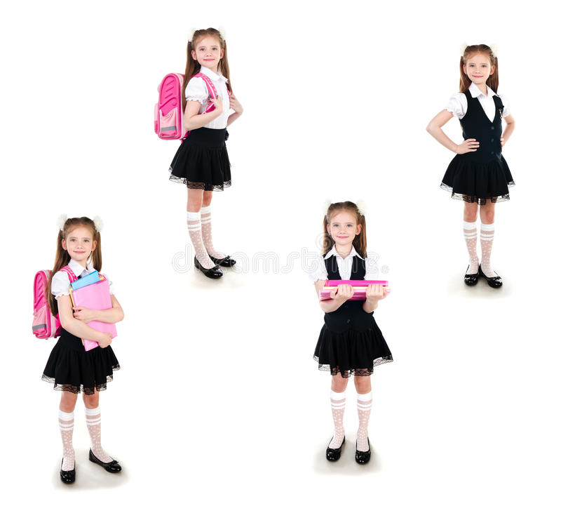Collection of photos smiling schoolgirl in uniform with backpack royalty free stock images