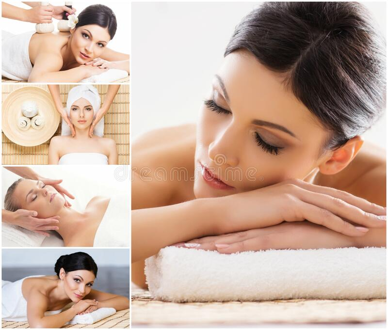 Collection of photos with women having different types of massage. Spa, wellness, healing, rejuvenation, health care and. Aroma therapy collage royalty free stock image