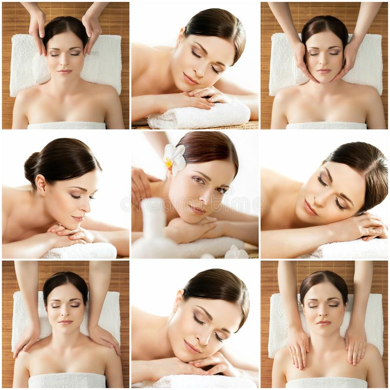 Collection of photos with women having different types of massage. stock images