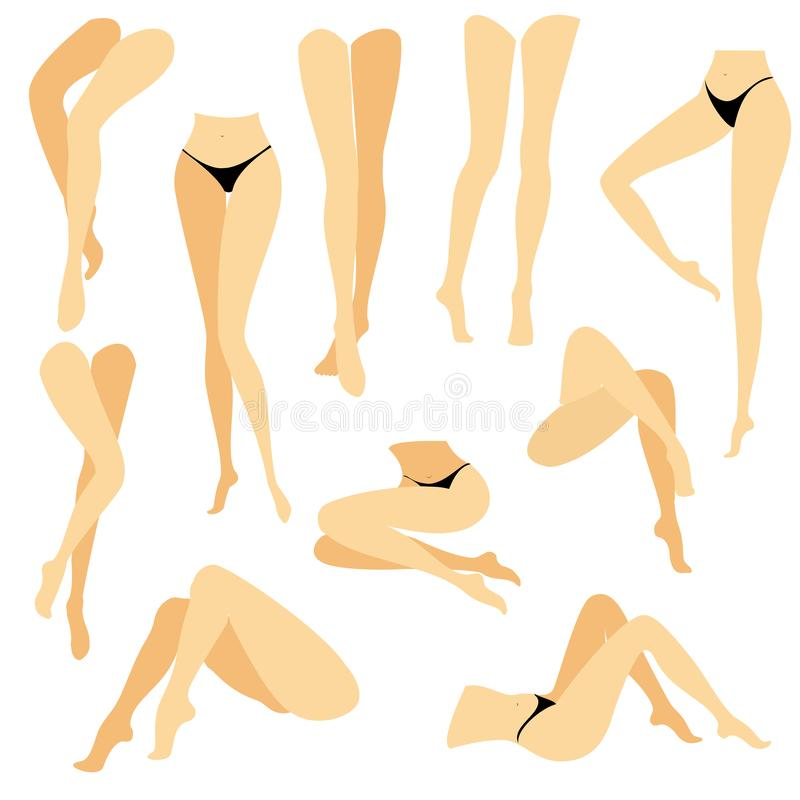Collection. Picture with silhouettes of slender beautiful female feet. Different postures of legs when the girl is standing, lies royalty free illustration