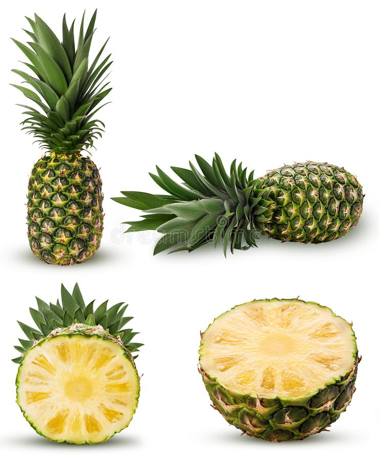 Collection pineapple fruit whole, cut in half with green leaves. Isolated on white background. Clipping Path. Full depth of field stock images