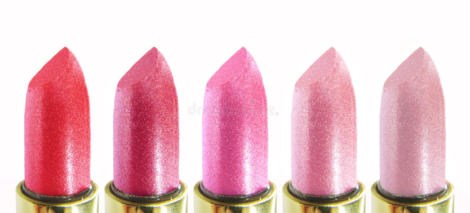 Collection of pink lipsticks royalty free stock image