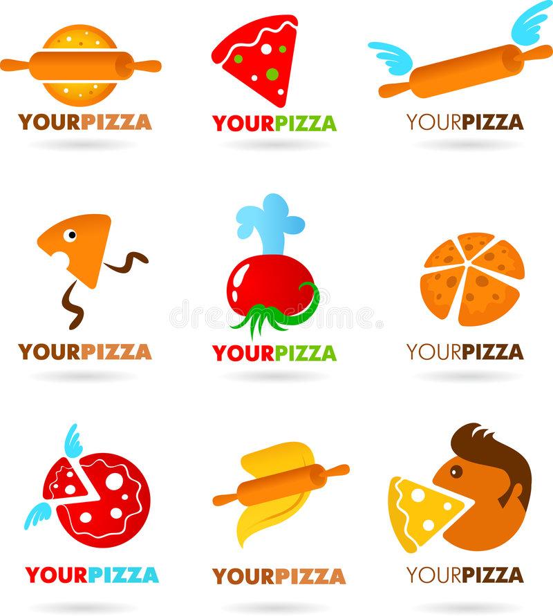 Collection Of Pizza Logos Stock Image