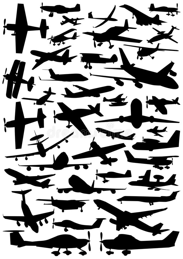 Collection of plane vector royalty free illustration