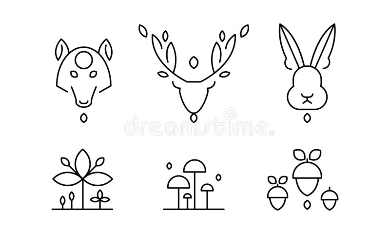 Collection of plants and wild animals head in linear style, forest decorative elements vector Illustration on a white royalty free illustration