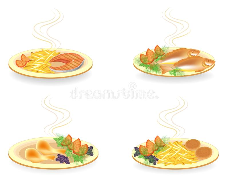 Collection. On a plate cutlets, chicken drumsticks, fish. Garnish fried potatoes, tomato, greens dill, basil and parsley. Tasty. And nutritious food. Vector royalty free illustration