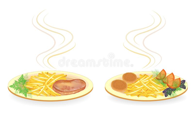 Collection. On a plate of cutlets, steak meat. Garnish fried potatoes, tomato, greens dill, basil and parsley. Tasty and. Nutritious food. Vector illustration vector illustration
