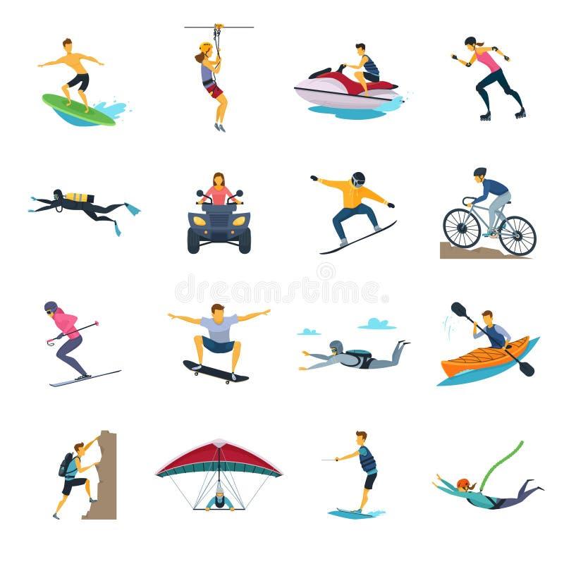 Collection plate d'icônes d'activités extrêmes de sport illustration de vecteur