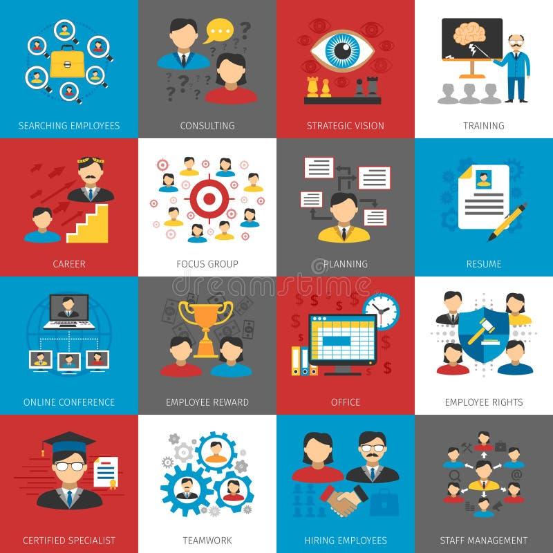 Collection plate d'icônes de gestion de ressources humaines illustration de vecteur