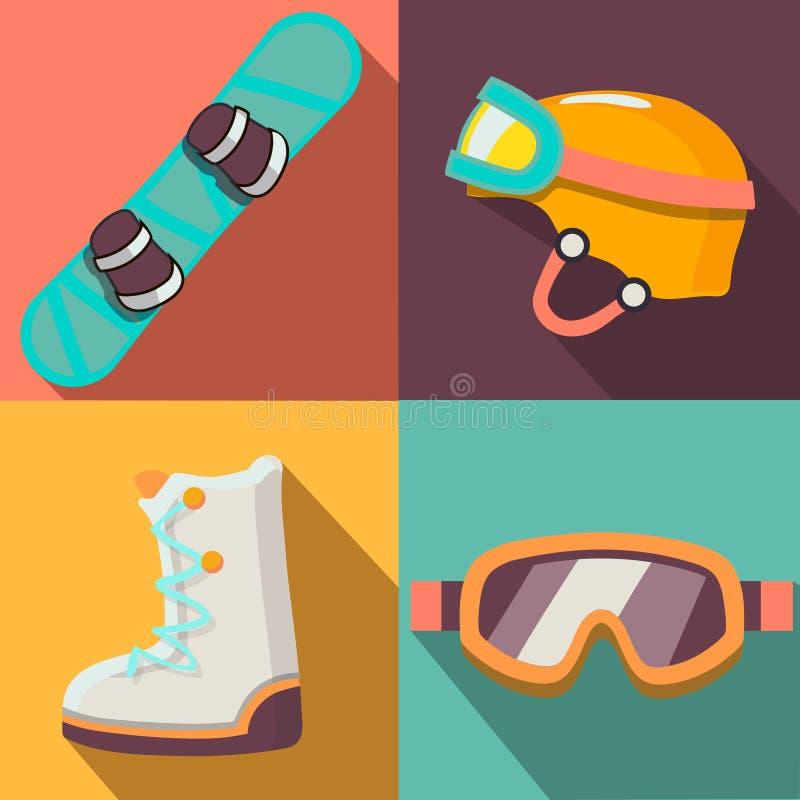Collection plate d'icônes de sport d'hiver illustration libre de droits