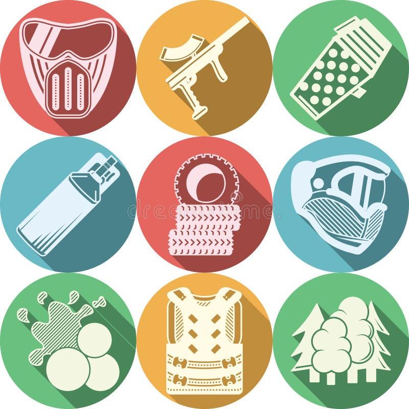 Collection plate d'icônes pour le paintball illustration stock