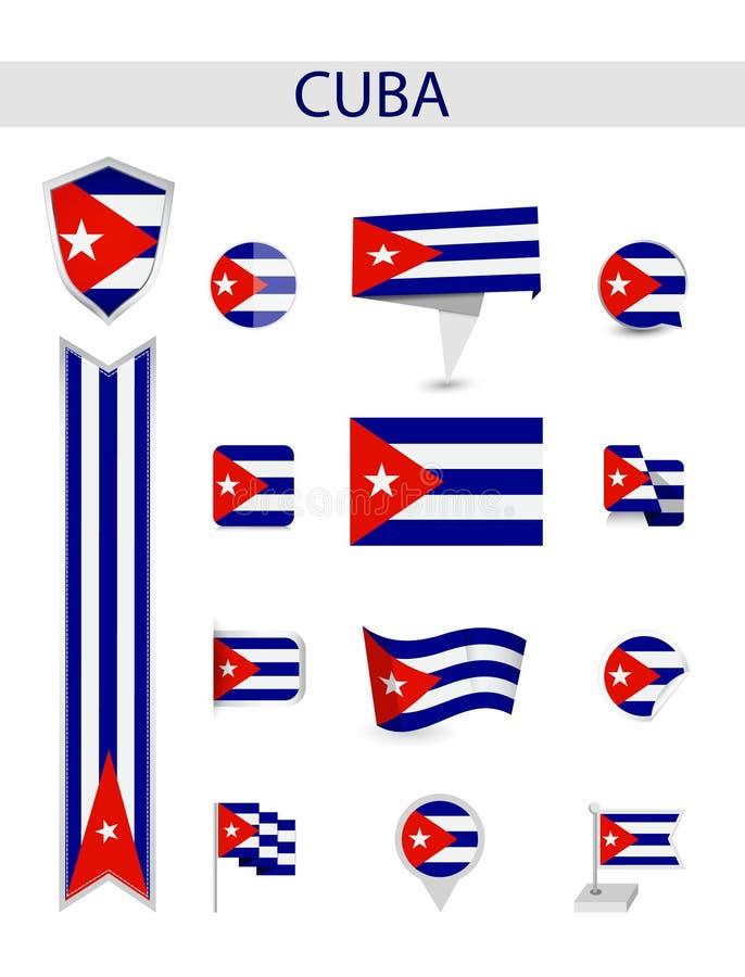 Collection plate de drapeau du Cuba illustration de vecteur