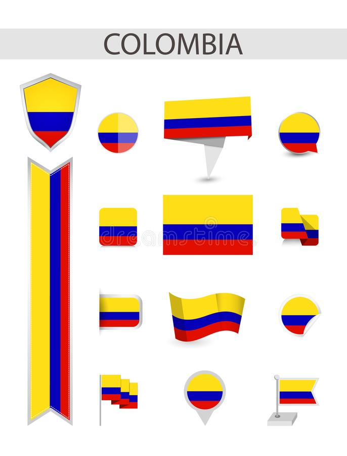 Collection plate de drapeau de la Colombie illustration de vecteur