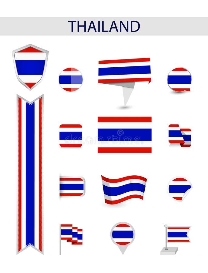 Collection plate de drapeau de la Thaïlande illustration libre de droits