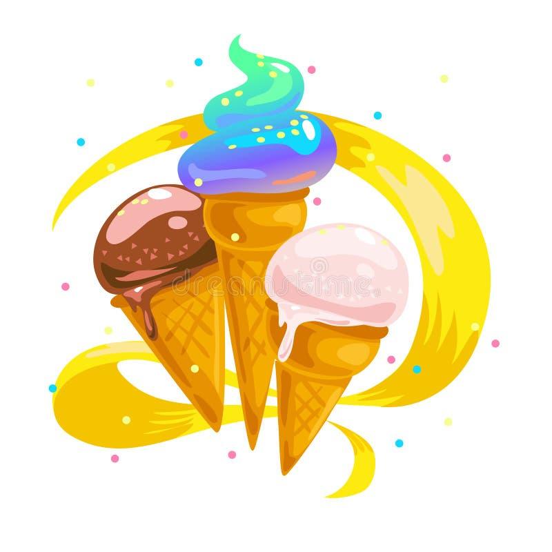 Collection plate de vecteur de cornets de crème glacée doux savoureux illustration stock