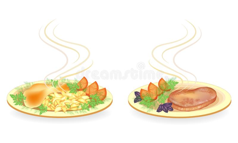 Collection. On a plate, the drumstick of chicken meat, steak. Garnish fried potatoes, tomato, greens dill, basil and parsley. Tasty and nutritious food. Vector stock illustration
