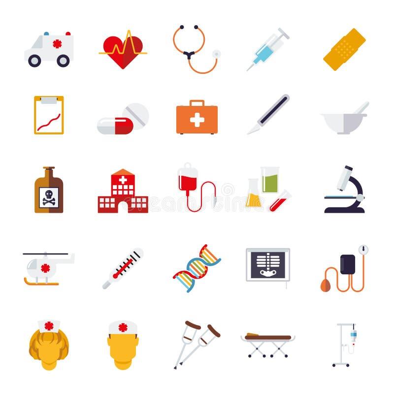 Collection plate médicale et de soins de santé de conception de vecteur d'icônes illustration stock