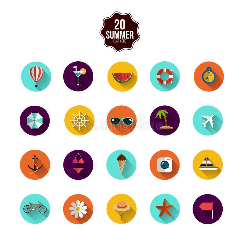 Collection plate moderne d'icônes avec le long effet d'ombre illustration stock