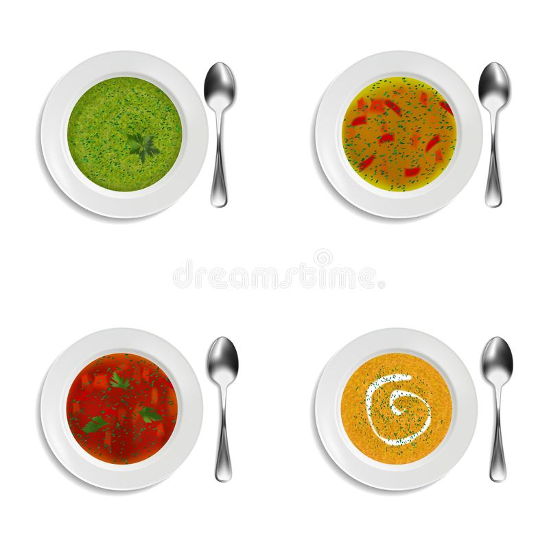Collection of plates with soup and cream soup. With greenery and decorations. Isolated objects on white background. Realistic style. Vector illustration vector illustration