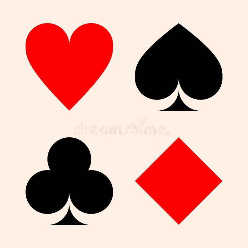 Collection of playing card suits - hearts, clubs, spades, diamonds. Set of playing card symbols - hearts, clubs, spades, diamonds/playing card suits isolated on vector illustration