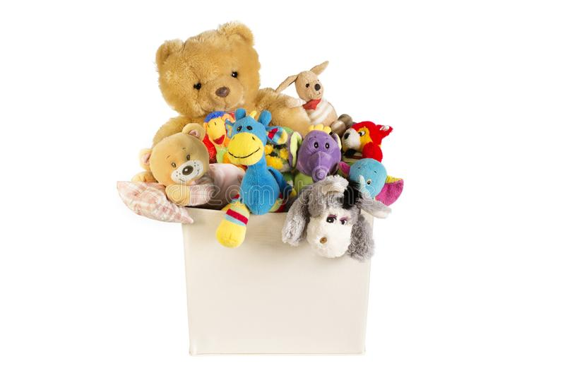 Collection of plush toys in white toys box. Isolated on white background royalty free stock images