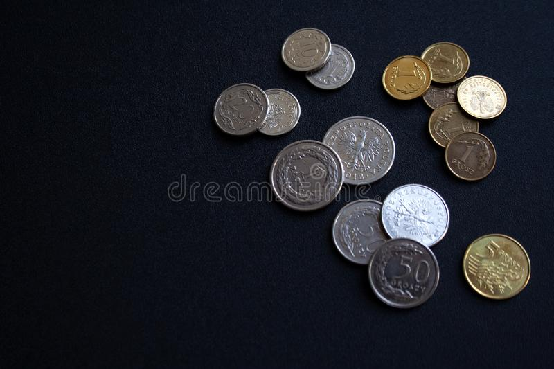 Collection of Polish coins on black background with a copy space stock image