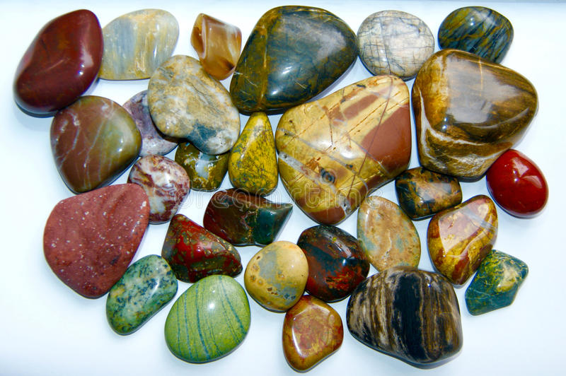 Collection of polished rocks royalty free stock images