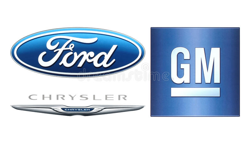 Collection of popular American car manufacturers logo royalty free illustration
