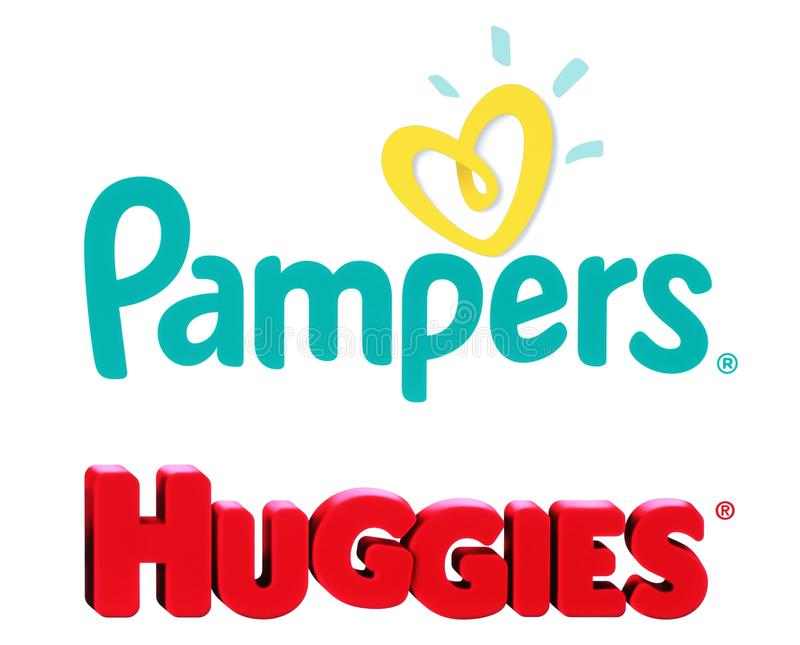 Collection of popular baby diapers brands. Kiev, Ukraine - October 27, 2017: Collection of popular baby diapers brands: Pampers and Huggies, printed on white stock photo