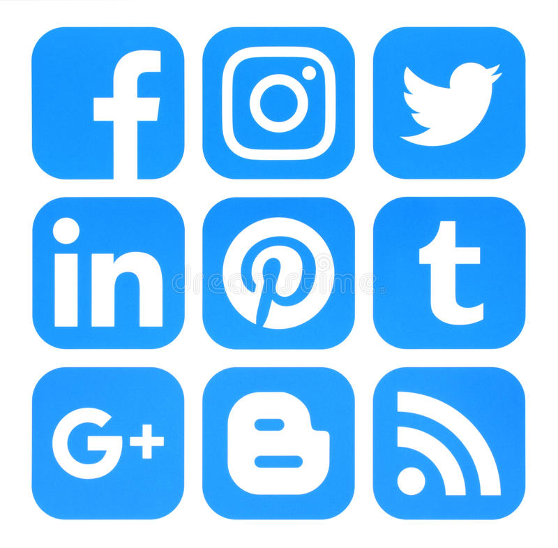 Collection of popular blue social media icons printed on paper vector illustration