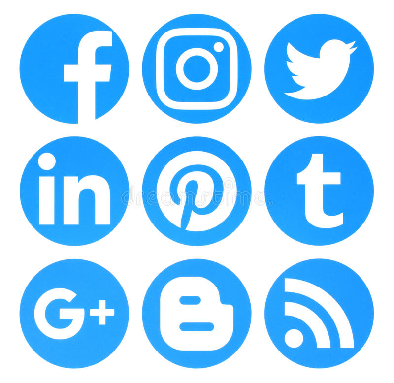 Collection of popular circle blue social media logos printed on royalty free illustration